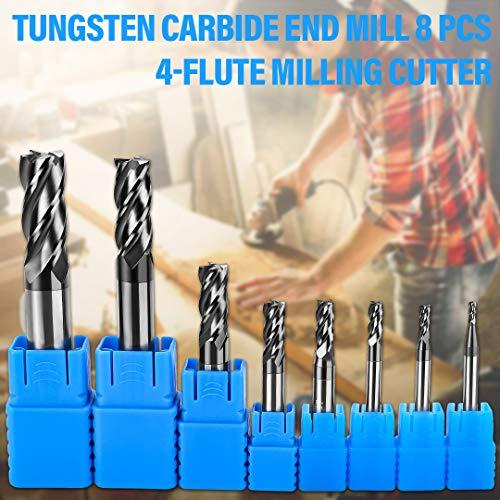 8tlg Schaftfräser 4 Flöten Hartmetall Nutenfräser Fräser Durchmesser 2-12mm CNC Werkzeug