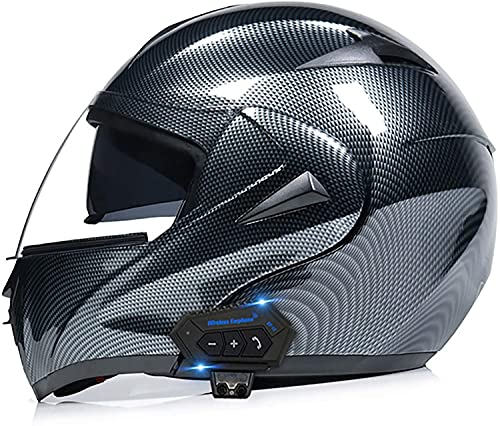 OOMEI Casco Bluetooth Moto Casco de Moto Modular,ECE Homologado Cascos Integrales con Doble Visera para Adultos Hombres Mujeres,Micrófono Incorporado Puede Responder Automáticamente