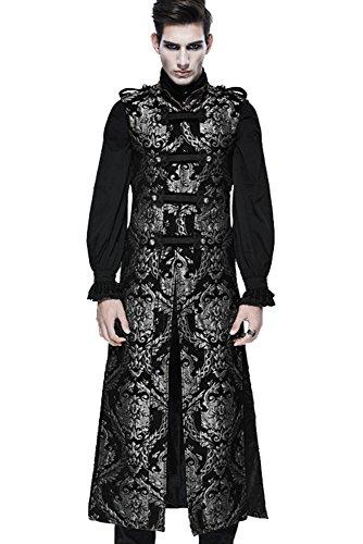 Devil Fashion Gothic Herren Retro Elegante Persönlichkeit Ärmellos Mantel Lange Steampunk Männer Mode Stickerei Mittelalter Stil Weste Jacke (L, Golden)