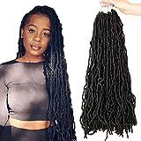 24 Inch New Faux Locs Crochet Hair 7 Pack Butterfly Locs Crochet Hair Synthetic Hair Extensions100% Premium Fiber (1B)