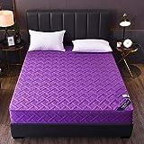 HPPSLT colchón Acolchado, antialérgico antiácaros, Sábana de Cama Pure Color All Inclusive Hotel-Purple_180 * 200cm