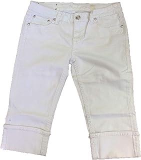 275a2b32bfed1 LA Idol Women Plus Size Capri Jeans Flap Back Pocket Loop Bold Stitching  Stretch in White