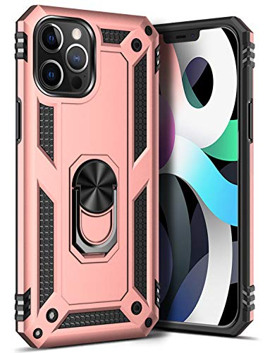 GREATRULY Ring Kickstand Phone Case for iPhone 12 Pro Max 6.7 Inch (2020),Heavy Duty Dual Layer Drop Protection Case,Hard Shell + Soft TPU + Ring Stand Fit Magnetic Car Mount,Rose Gold