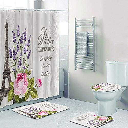 AIDEMEI Elegante Vintage PostkarteLavendel Blumen Garten Duschvorhänge Badteppich Set für Badezimmer Home Decor 4PCS Badezimmerzubehör 180X180CM