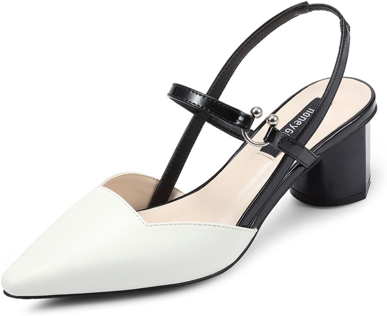 JE shoes Women's Thick High Heels Baotou Sandals shoes Korean Version