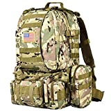 NOOLA Tactical Military Backpack Army Assault Pack Molle Bag Detachable Rucksack CP with Patch
