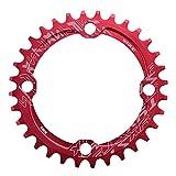 Keenso Monoplato de Bicicleta, 32/34/36/38T BCD 104 mm Plato para Bicicleta de Montaña(36T-Rojo)