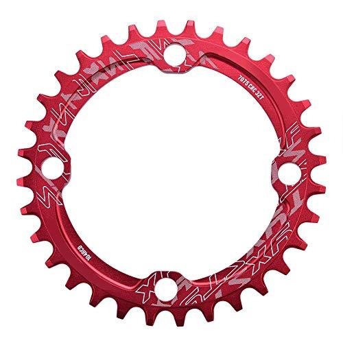 Dioche Corona Ovale, 32/34/36/38T 104mm BCD Corona per Catena Bicicletta MTB Corona Singola(32T-Rosso)
