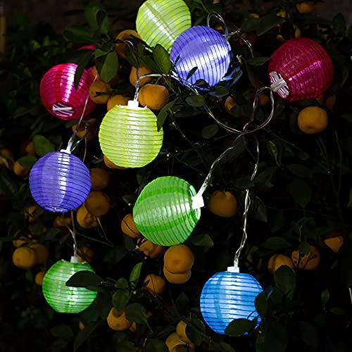 Solar Lichterkette Lampion Außen 2 Meter 10 LED Laternen Wasserdicht Solar Beleuchtung für Garten, Balkon, Hof, Terrasse, Hochzeit, Haus, Outdoor, Fest Party Deko LED Garten Außen Innen Wasserfest