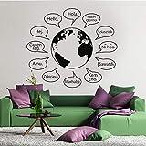 Varios idiomas Hola saludo el globo terráqueo mapa del mundo vinilo adhesivo de pared calcomanía niño niños dormitorio sala de estar oficina estudio decoración del hogar mural