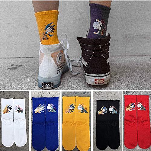 WYLLA 5 Paare Mode Persönlichkeit Coole Socken Lustige Dragon Ball Cartoon Anime Street Fashion Lange Socken Unisex Glücklich Hip Hop Skateboard Socken