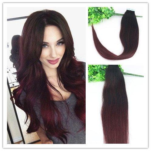 transparente ruban adhésif en Extensions capillaires Cheveux humains 20 pcs/50 g Remy soyeux droites 35,6 cm à 61 cm