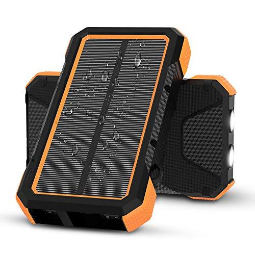 X-DRAGON Solar Powerbank 25000mAh wasserdichte Solarladegerät mit 5 Ausgängen, Dual Input (USB C & Micro), Dual Flashlight, Kompass für i-Phone, S-amsung, Handys, Camping, Outdoors