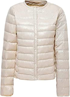 Macondoo Women Outwear Puffer Warm Winter Packable Collarless Down Coat