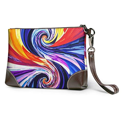 Hdadwy Colorful Spiral Women Leather Purses Clutch Phone Cards Handbags
