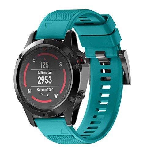 SHOBDW Garmin Fenix 5-22MM /Fenix 5X-26MM Armband, Wiedereinbau Silicagel weicher Band-Bügel für Garmin Fenix 5 /Fenix 5X GPS-Uhr (26MM, Grün)