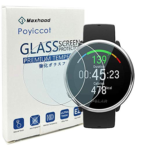 For POLAR IGNITE Screen Protector, Poyiccot 2Pack Tempered Glass 9H HD Scratch Resistant Screen Protector for Polar Ignite Fitness Watch