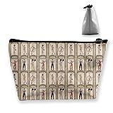 Bolsa de cosméticos portátil Personajes de Circo Vintage Acrobat, Bolsa de Almacenamiento Trapezoidal con Estampado Multifuncional para Mujer Barbuda para Mujer