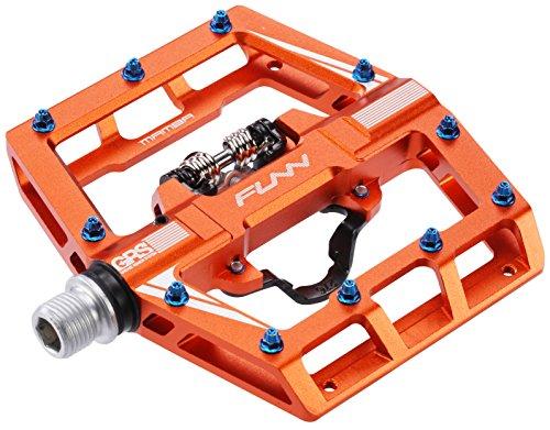 Funn Mamba Mountain Bike Clipless Pedal Set - Single Side Clip Wide Platform MTB Pedals, SPD Compatible, 9/16-inch CrMo Axle (Orange)