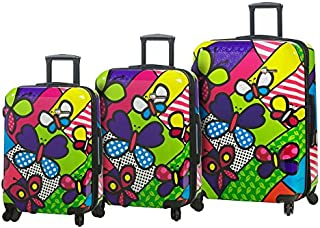 Mia Toro Italy M Butterflies Hardside Spinner Carry-on, BTF, Multi-Colored