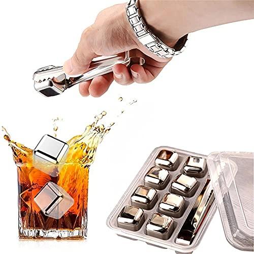 Cubitos de Hielo de Metal Piedras de Whisky de Acero Inoxidable Rocas de Enfriamiento Reutilizables Sets de Regalo para Hombres para Whisky, Vino, Cerveza, Cóctel
