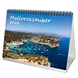 Mallorcazauber DIN A5 Tischkalender für 2021 Mallorca - Geschenkset Inhalt: 1x Kalender, 1x Weihnachts- und 1x Grußkarte (insgesamt 3 Teile)
