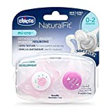 Chicco NaturalFit Mi-Cro 2-Pack Pacifiers, Pink (0-2M)