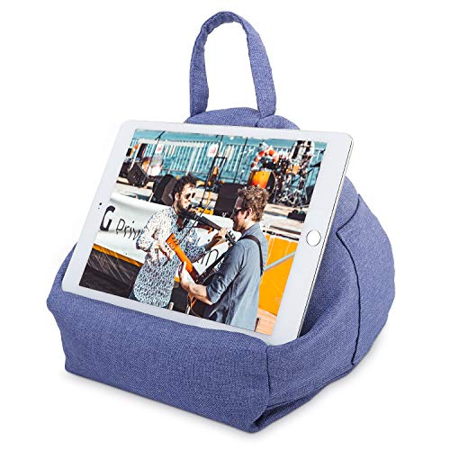 MoKo Tablet Pillow Stand, Tablet Lap Pillow on Bed Sofa Soft Cushion Holder for Phones Tablets Up to 11, Fit iPad 10.2 2020, iPad Air 4 10.9, Air 3, iPad Pro 11, Galaxy Tab S6/S7 11 - Denim Blue