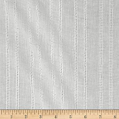 Leno Cotton Stripe Gauze White, Fabric by the Yard