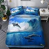 Funda Nórdica Animal Ropa De Cama De Delfines Cama Ocean Line Juego De 3 Piezas Sábana Digital 3D Funda Nórdica Funda De Almohada Todas Las Estaciones