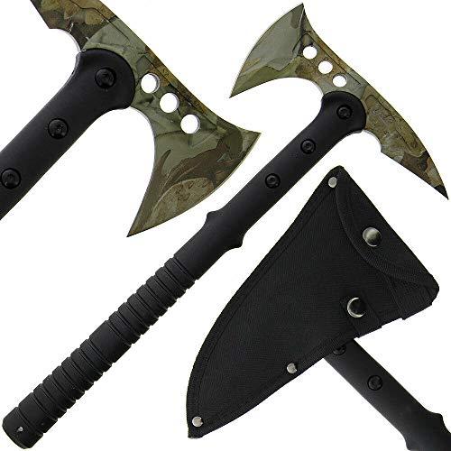 G8DS® Wurfaxt Axt Beil AXT Schwarz Tomahawk inkl. Kopftasche (grün, 1)