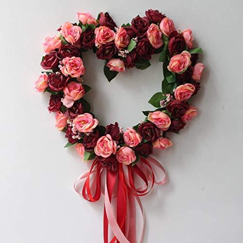 Corona de Navidad tipo corazón corona flores para puerta de casa, ventana decoración de la pared, flores artificiales rosas de Navidad, guirnalda de puerta, decoración rosa, rosa (color: rojo)