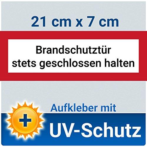 10 Stück Aufkleber Schild Brandschutztür stets geschlossen halten, mit UV-Schutz, 21x7cm, Hinweisschild für den Brandschutz / Feuerschutztür, Brandschutzzeichen