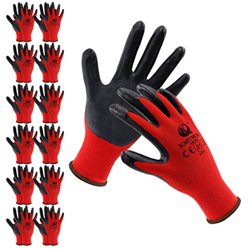 Kmitmuk 12 Pairs Nitrile Coated Work Gloves for Women and Men, 13-Gauge Polyester Shell, General Purpose, Gardening Yard Work and Construction (X-Large, Red)