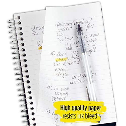 """Five Star Spiral Notebook, 2 Subject, College Ruled Paper, 100 sheets, 9-1/2"""" x 6"""", Black (72285) Photo #5"""