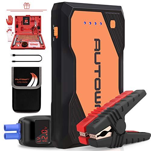 AUTOWN Starthilfe Powerbank, Auto Starthilfe 10000mAh 800A Spitzenstrom, KFZ Starter Powerbank mit 12V Ausgang (orange)