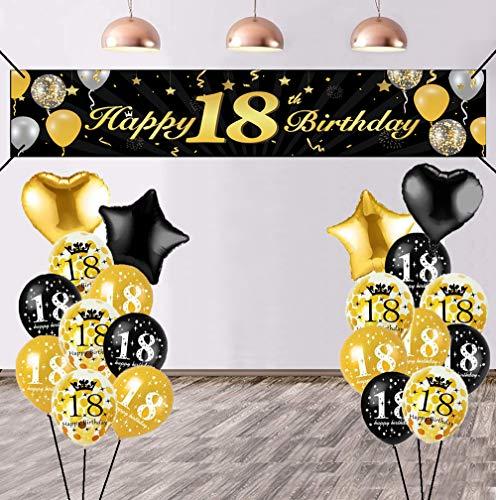 Decoración de cumpleaños para 18 cumpleaños, color negro y dorado, con pancartas extralargas, banderines de tela, globos gigantes, confeti, globos para niños, niñas, jardín, tabla, muro