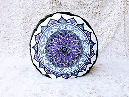 Zafú, cojín de meditación en Tonos morados y Blancos con Mandala Lila diseñado por floresyabejas