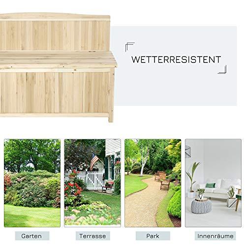 Outsunny Gartenbank mit Stauraum Truhenbank Sitzbank 2-Sitzer 250 kg Belastbarkeit Natur Tanneholz 115 x 45 x 75 cm - 3
