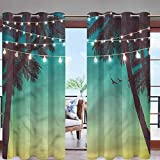 Hiiiman - Panel de cortina para exteriores con aislamiento térmico con ojales en la parte superior, palmas de atardecer para la privacidad de toldo, pérgola/patio