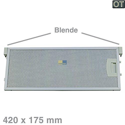 Metalen roosterfilter vetfilter rechthoekig metaal 420x175 mm afzuigkap Original Bosch Siemens Neff 00352812 352812 met eenzijdige ontgrendeling en afdekking Constructa Balay