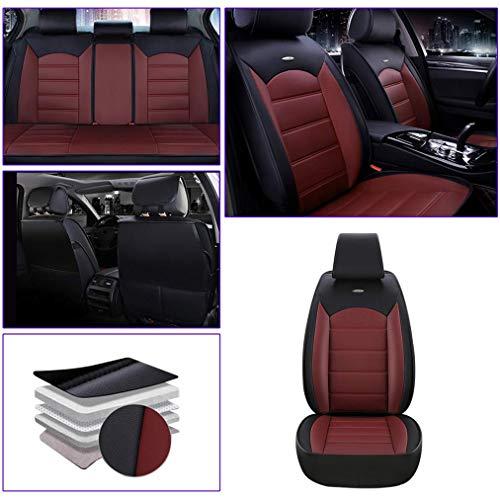Muchkey para Audi Q7 Q3 Q5 A7 A4 A6 Seden A3 Seden Delanteros Fundas para Asientos de Coche Juegos de Cubreasientos Compatible con 95% de Automóviles Estándar A Rojo Negro