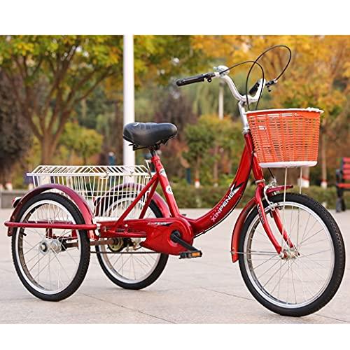 SN Triciclo para Adultos 20' Triciclo Bicicleta con 3 Ruedas Senior Wheel Cargo Bicicleta con Cestas Marco De Aleación City Outdoor Sports Shopping (Color : Red)