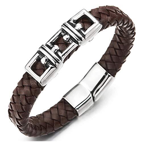COOLSTEELANDBEYOND Quadrat Schließe Sperren Charme Braun Lederarmband Herren Flach Armband Leder Armreif mit Edelstahl Magnetverschluss