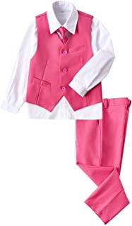 YuanLu 4 Piece Suits for Boys Set with Vest Pants White Dress Shirt and Tie Pink Size 6