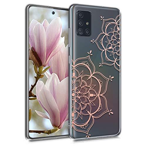 kwmobile Hülle kompatibel mit Samsung Galaxy A51 - Hülle Handy - Handyhülle Blumen Zwillinge Rosegold Transparent