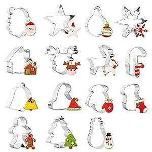Sinwind Navidad Cortadores Galletas Moldes para Galletas - 15 Piezas - Acero Inoxidable