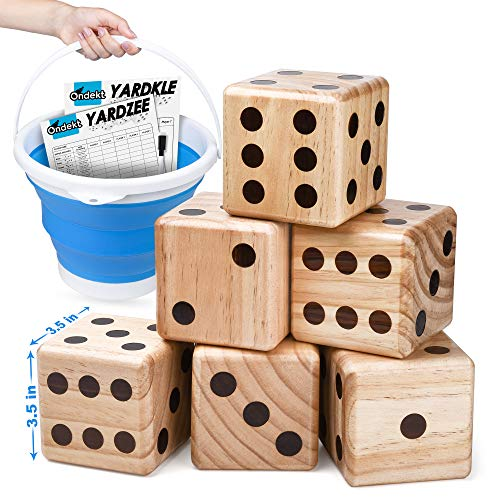 Giant Wooden Yard Dice – Splinter-Free and Crack-Proof Wood – Jumbo Size with Collapsible Bucket - 2 Dry Erase Score Cards - Indoor Outdoor - Play Many Games – Fun and Engaging Game Time – Ideal Gift
