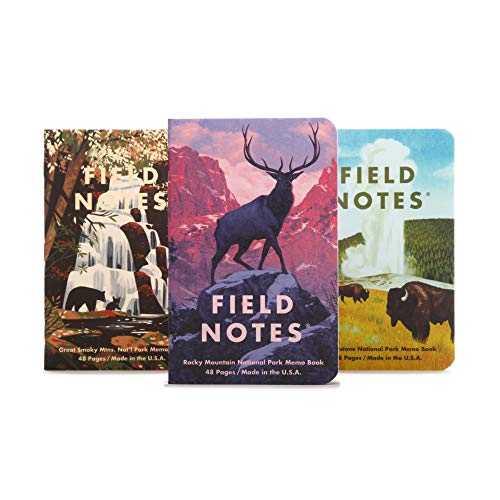 Field Notes: National Parks Series C - Rocky Mountain, Great Smoky Mountains, Yellowstone - 3 Pack - Graph Memo Book, 3.5 x 5.5 Inch
