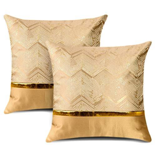 Artscope Juego de 2 fundas de cojín para cama, sofá, coche, decoración de lujo, moderno, minimalista, de piel dorada, con costuras onduladas, cuadradas, 45 x 45 cm, color dorado